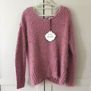 Pink Sweater with Lace Peep Back